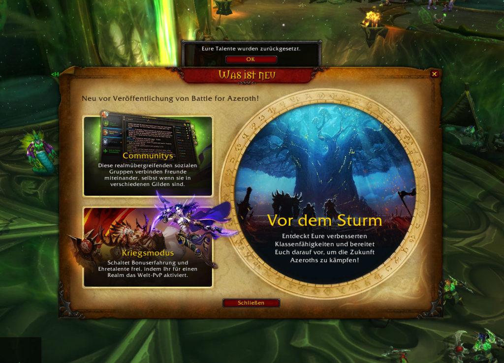 World of Warcraft Pre-Patch Einführung und Talente