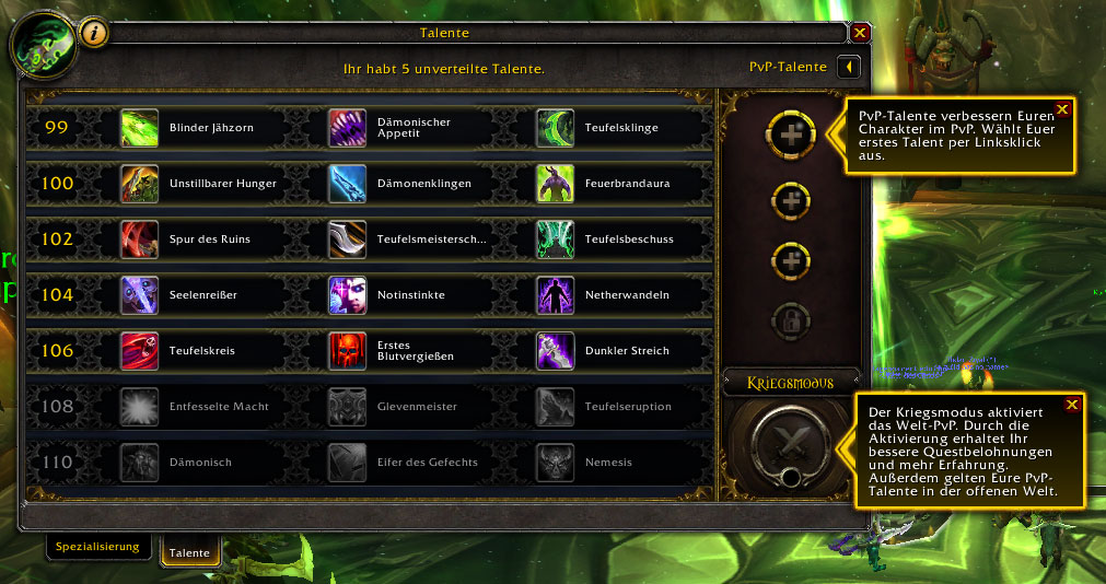 World of Warcraft Pre-Patch, Talentbaum und PvP